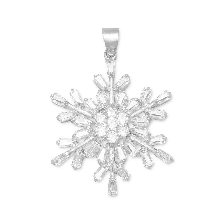 Rhodium Plated CZ Snowflake Pendant