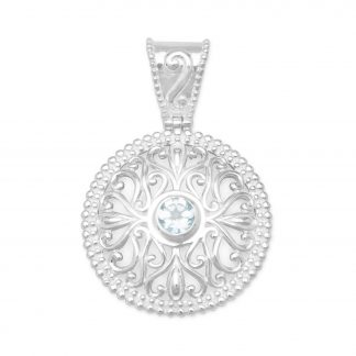 Blue Topaz Pendant with Swirl Cut Out Design