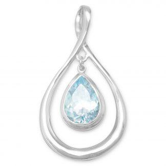 Pear Shape Pendant with Blue Topaz Drop