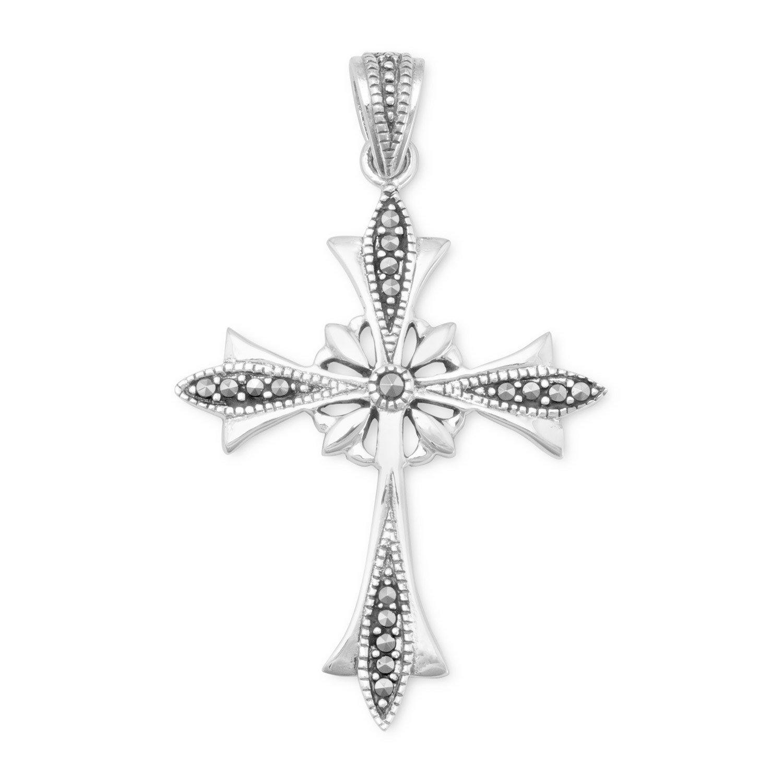 Ornate Marcasite Cross Pendant