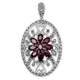 Oval Marcasite and Garnet Pendant