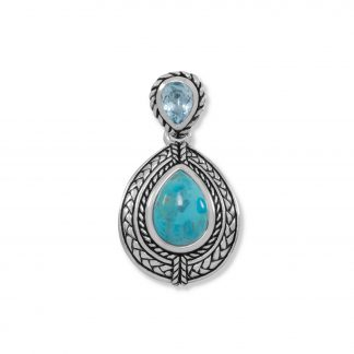 Blue Topaz and Turquoise Pendant