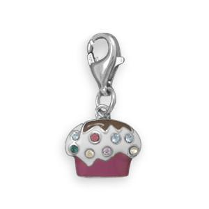 Rhodium Plated Enamel Cupcake Charm with Lobster Clasp Closure