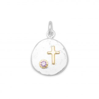 Two Tone Pendant with Cross and Purple CZ