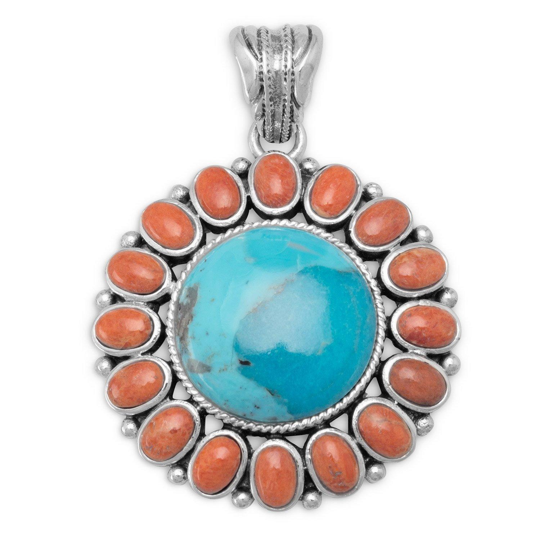 Reconstituted Turquoise and Coral Sunburst Pendant