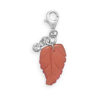 Glass Leaf Charm with Lobster Clasp