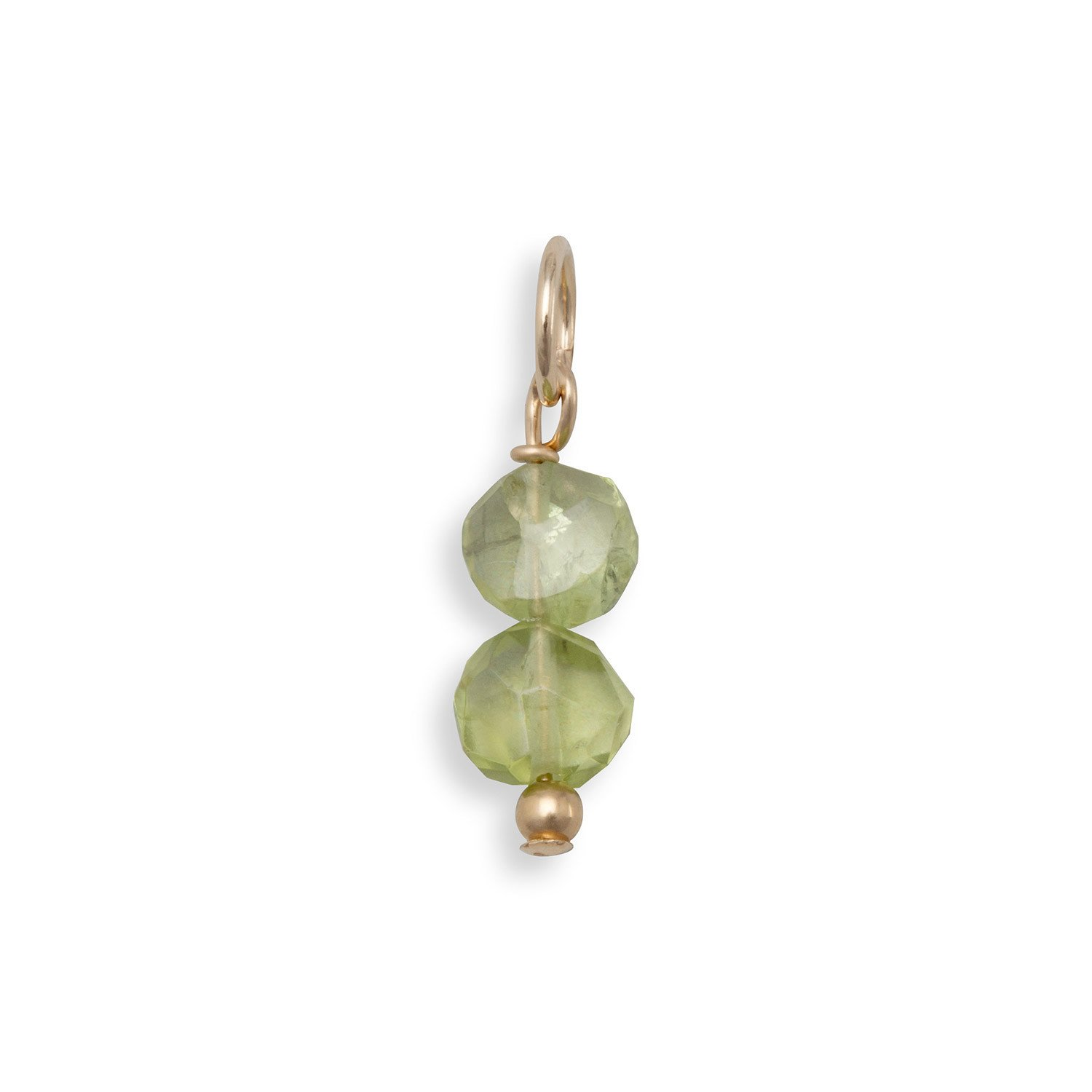 14/20 Gold Filled Peridot Coin Bead Charm – August Birthstone