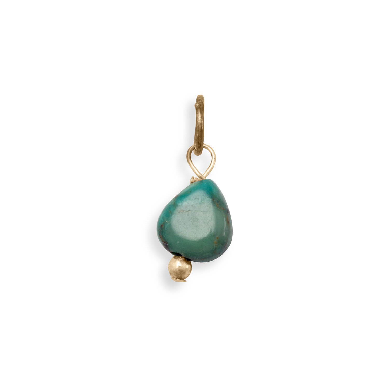 14/20 Gold Filled Reconstituted Turquoise Nugget Charm – December Birthstone
