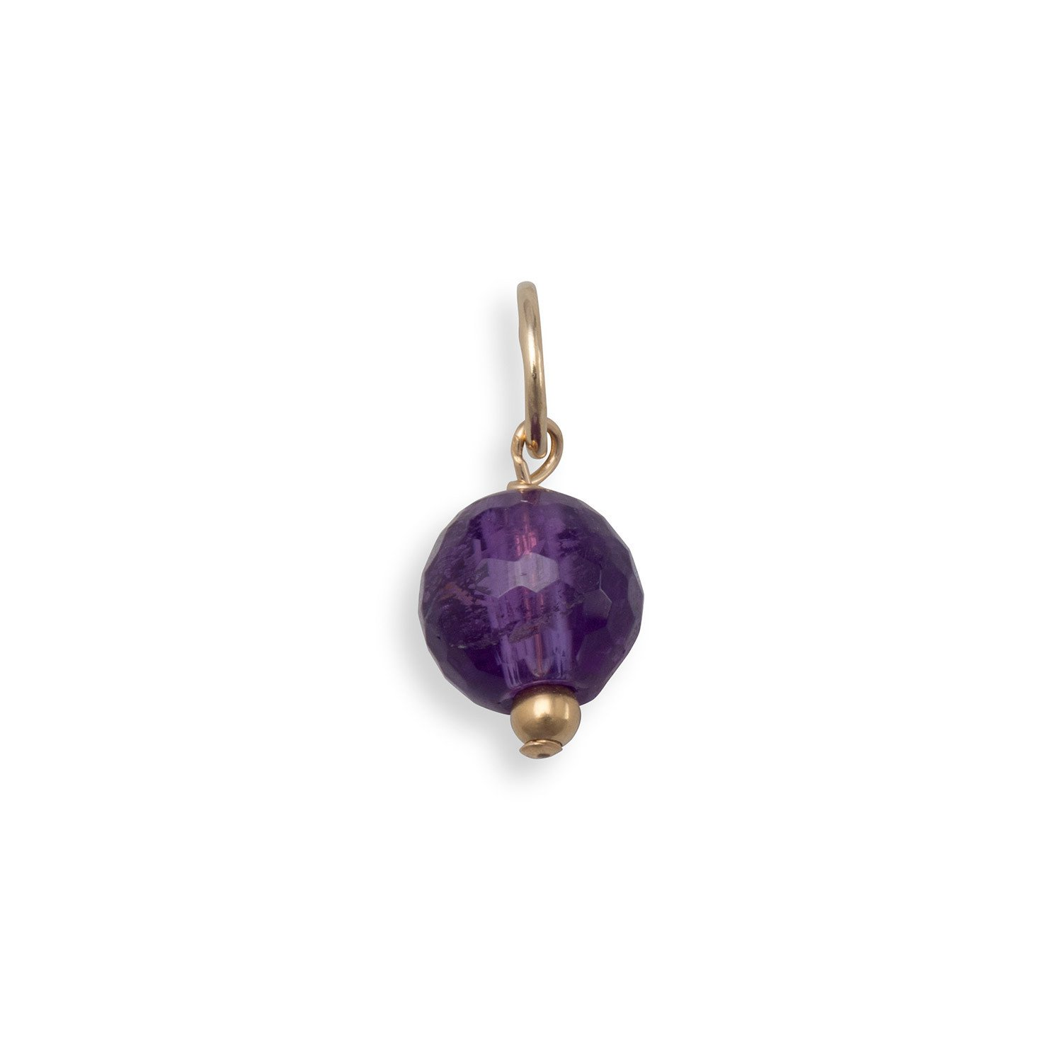 14/20 Gold Filled Faceted Amethyst Bead Charm – February Birthstone