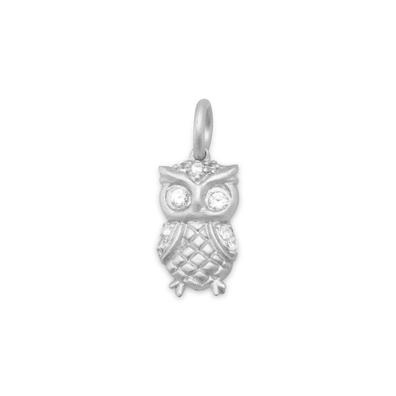 Rhodium Plated Satin Finish Owl Charm