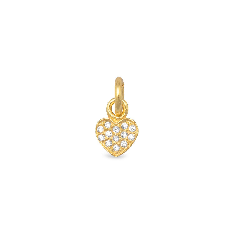 Tiny 14 Karat Gold Plated CZ Heart Charm