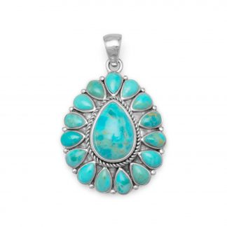 Oxidized Pear Shape Reconstituted Turquoise Pendant