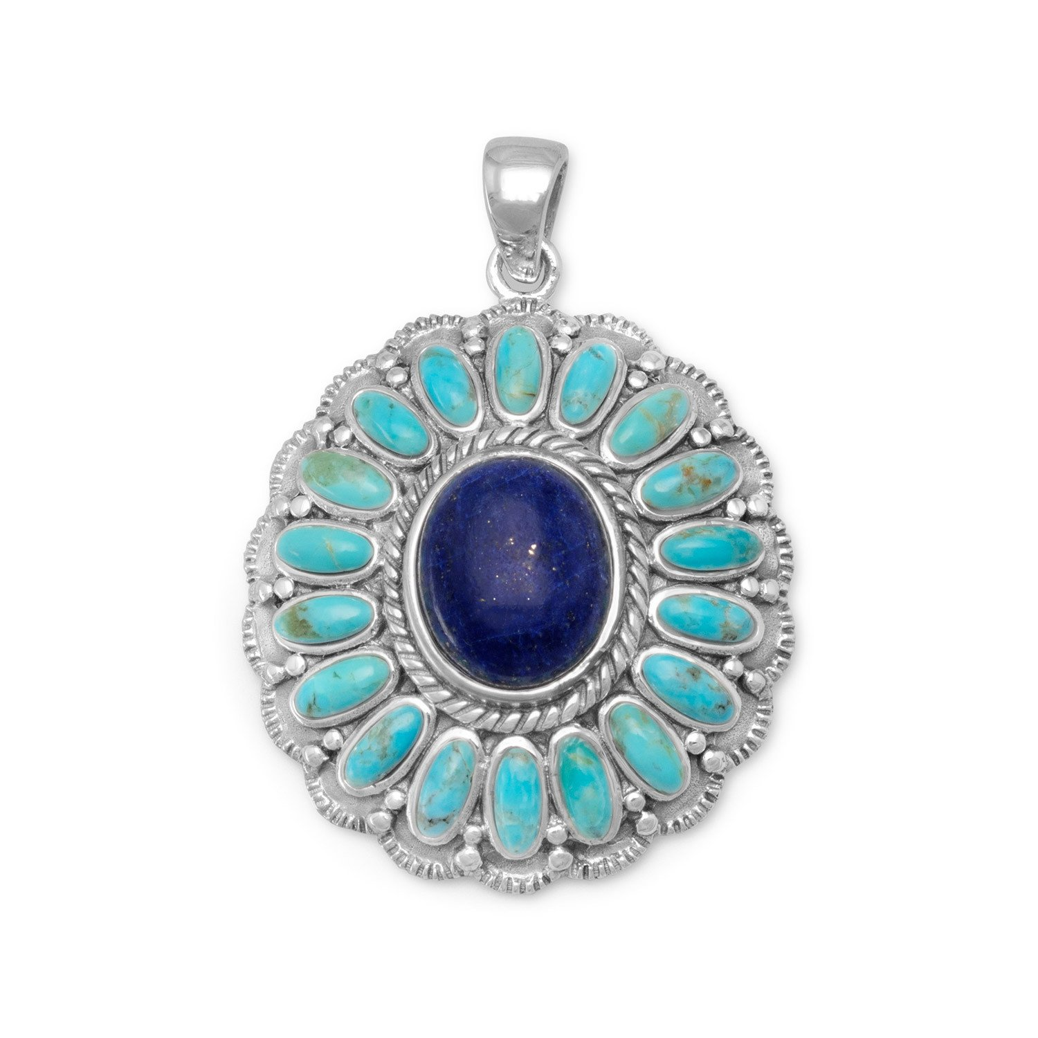 Oxidized Reconstituted Turquoise and Lapis Flower Pendant