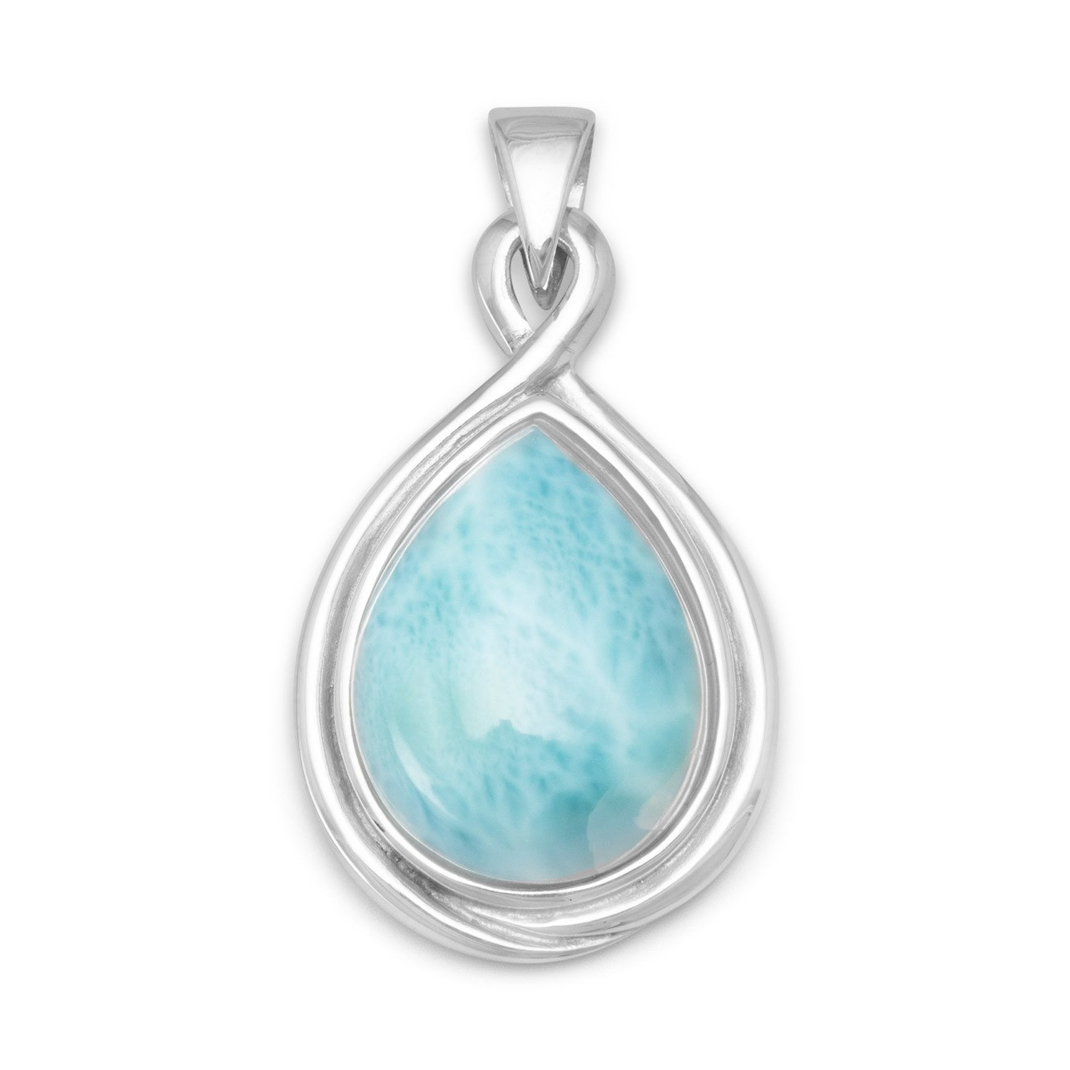 Rhodium Plated Pear Shape Larimar Pendant