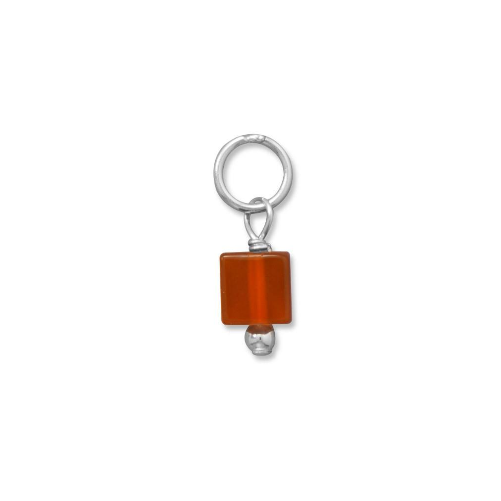 Square Carnelian Bead Gem Drop