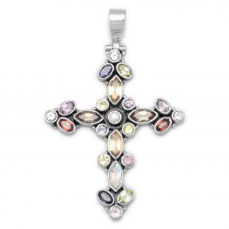 Multicolor Stone Cross Hinged Pendant