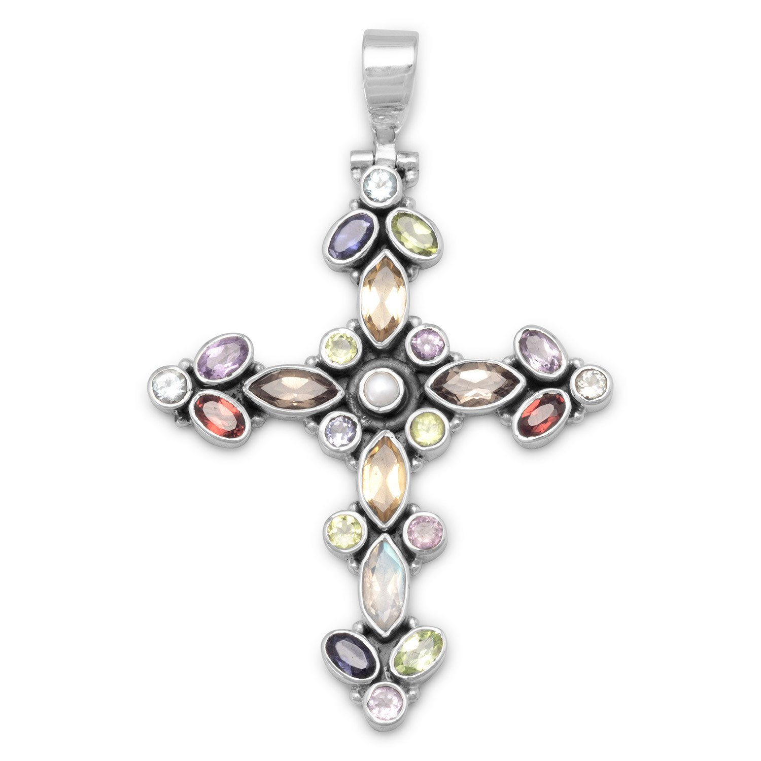 Multicolor stone cross hinged pendant semiprecious multicolor stone cross hinged pendant aloadofball Image collections
