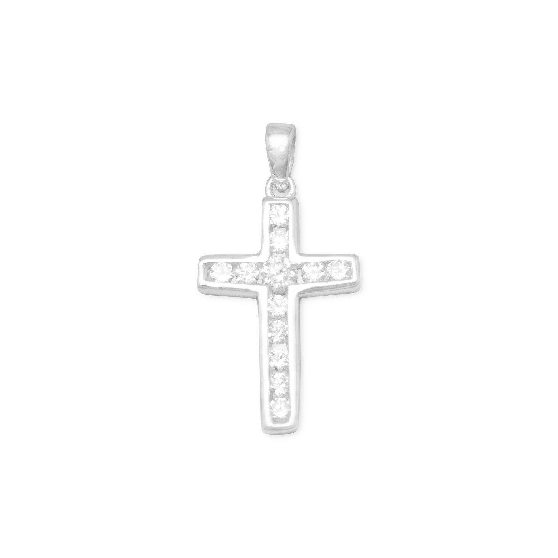 Small Channel Set CZ Cross Pendant