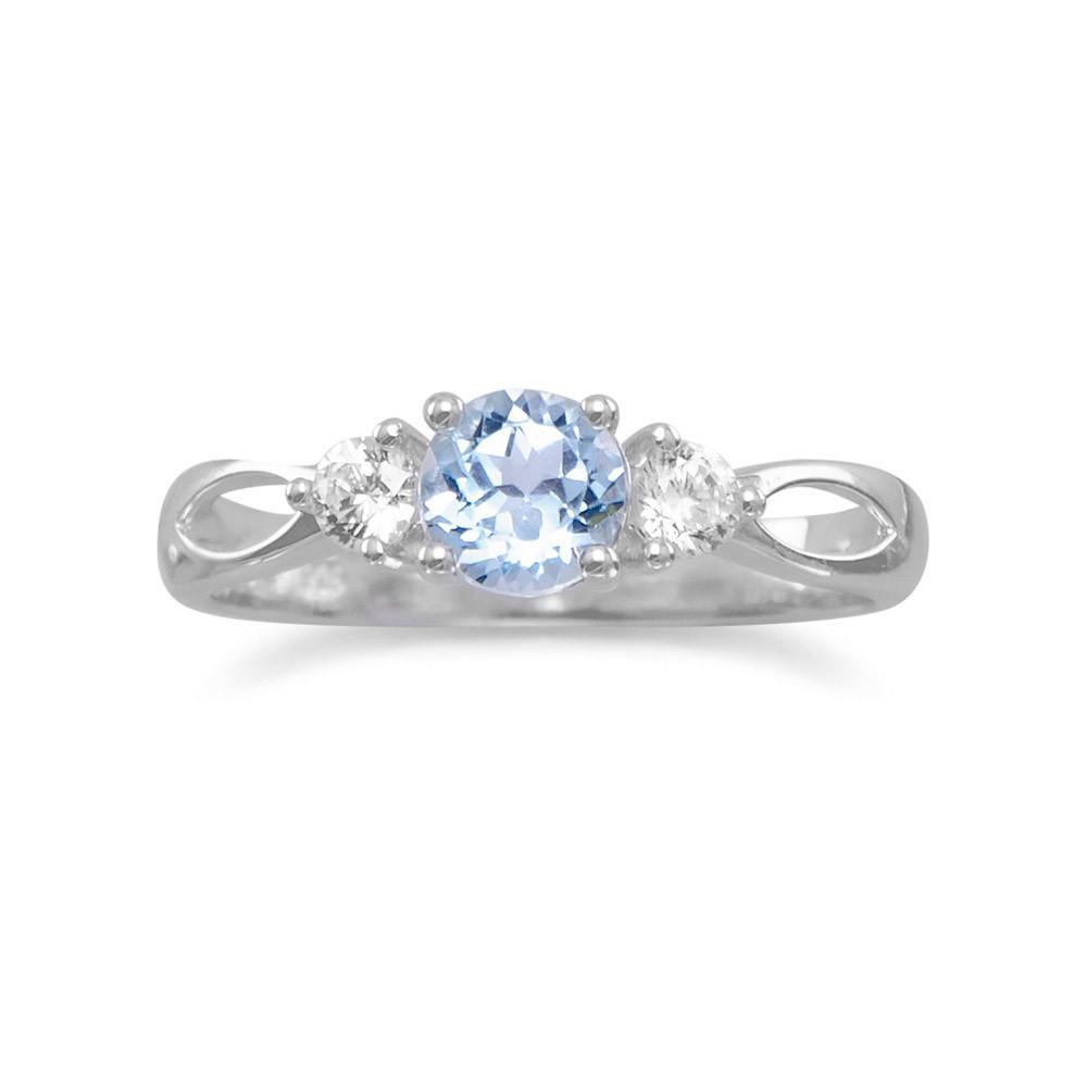 Rhodium Plated Blue Topaz Ring
