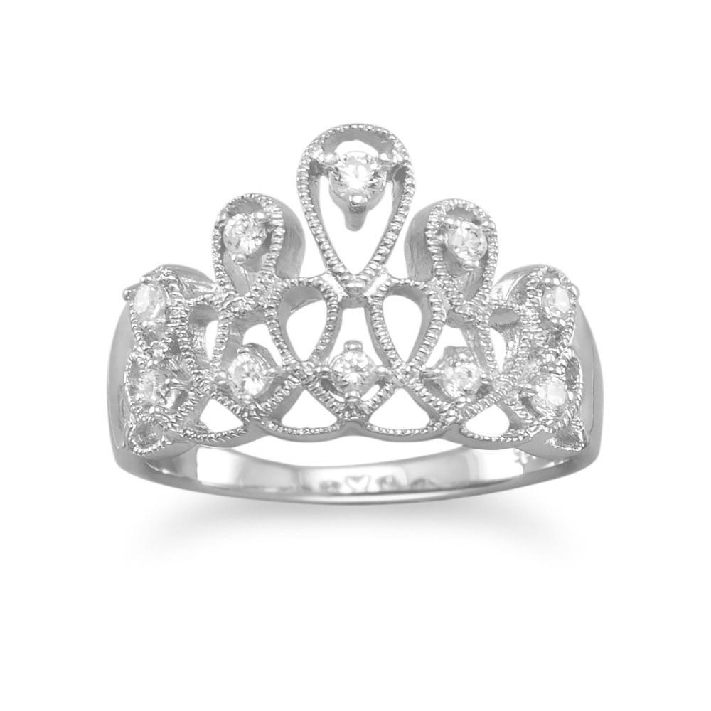 Rhodium Plated Tiara Design CZ Ring