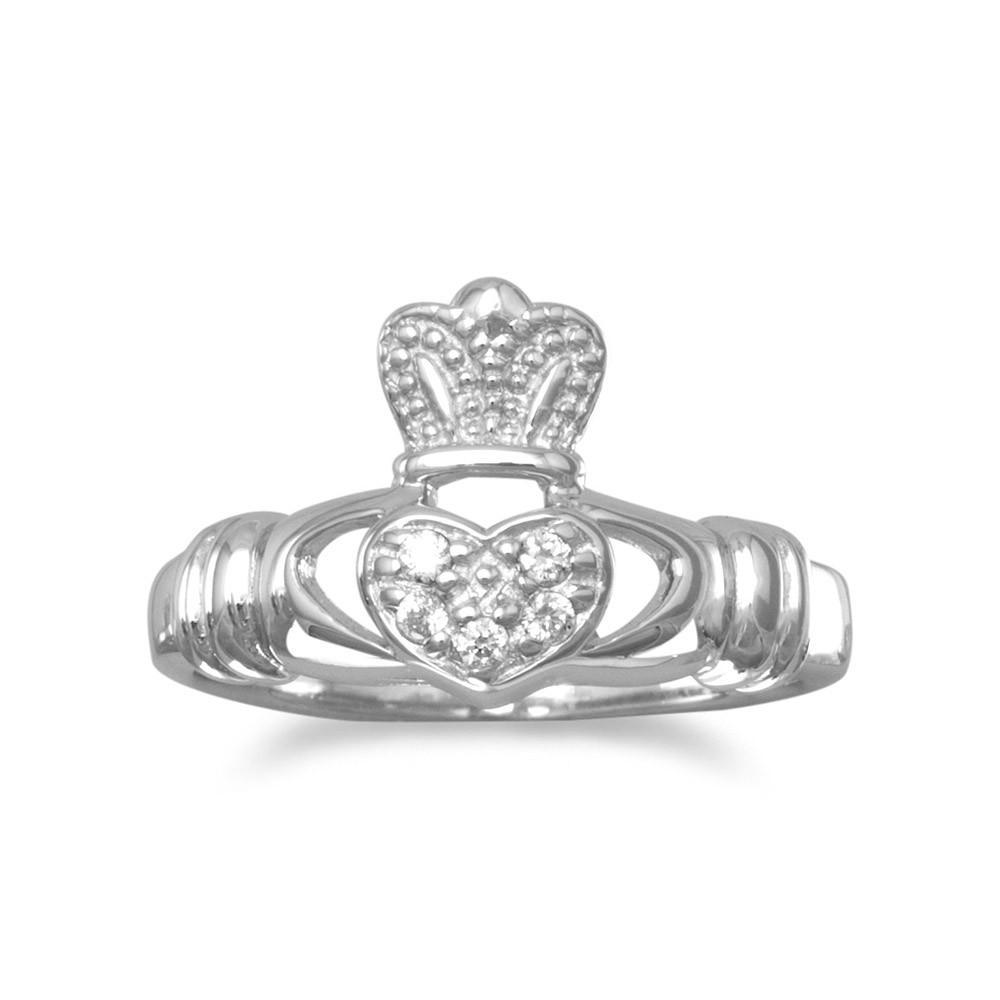 Rhodium Plated CZ Claddagh Ring