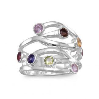 Multistone Open Design Ring