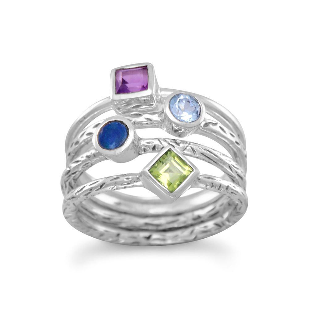 4 Band Multistone Ring