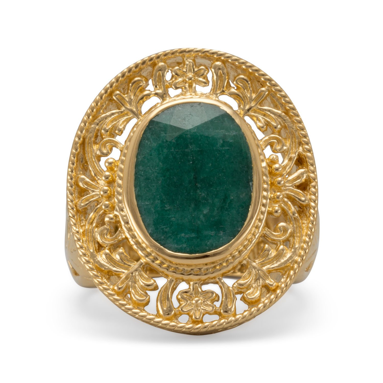 Ornate 14 Karat Gold Plated Beryl Ring