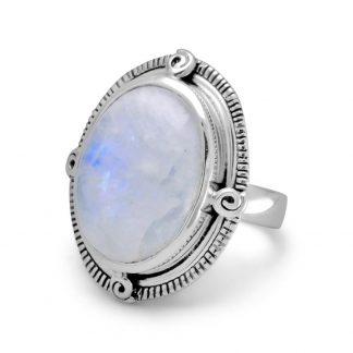 Oxidized Oval Rainbow Moonstone Ring