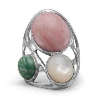 Multistone Geometric Design Ring