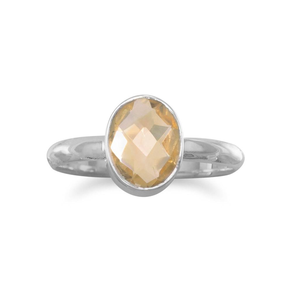 Faceted Citrine Stackable Ring