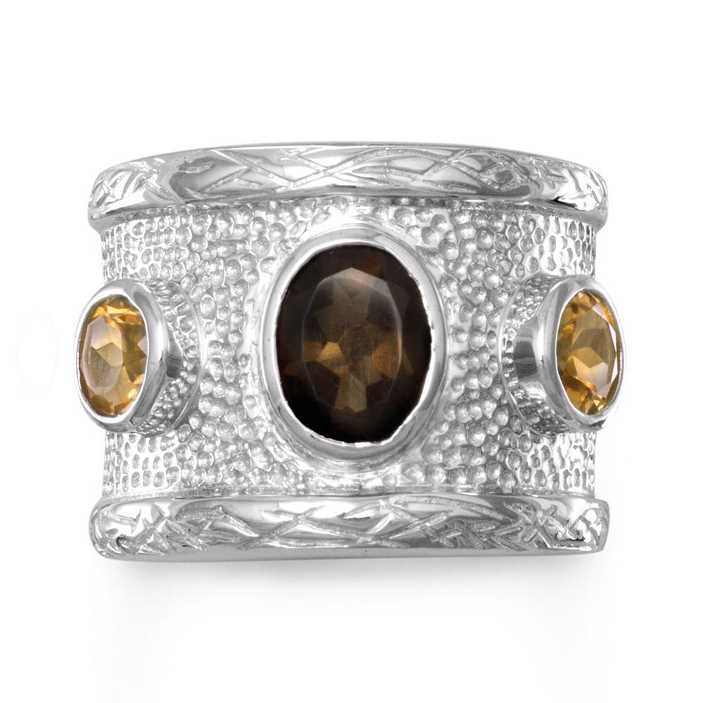 Quartz and Citrine Textured Ring