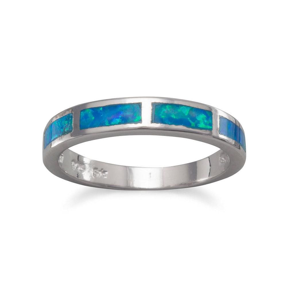 Inlaid Synthetic Blue Opal Ring