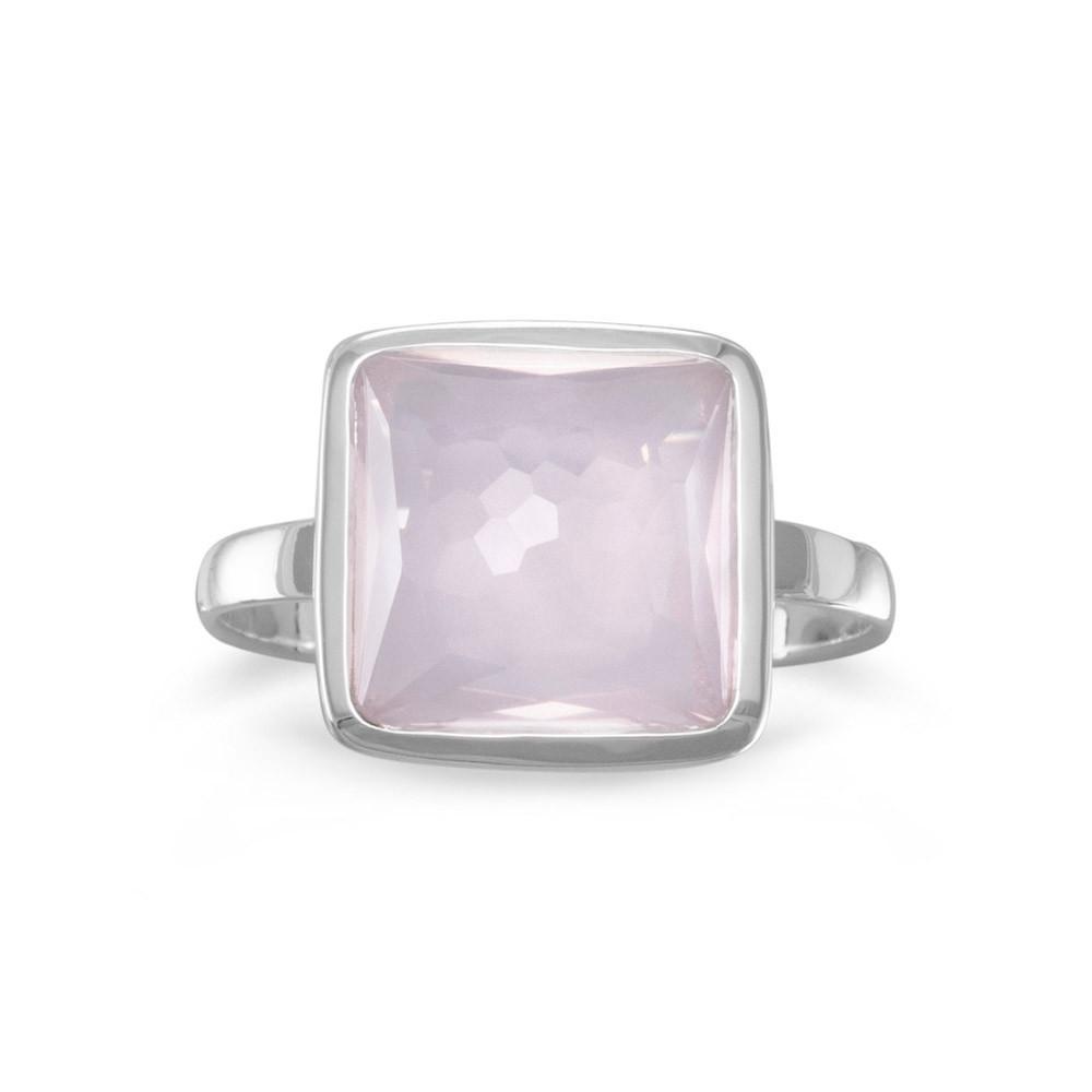 Freeform Faceted Square Rose Quartz Stackable Ring