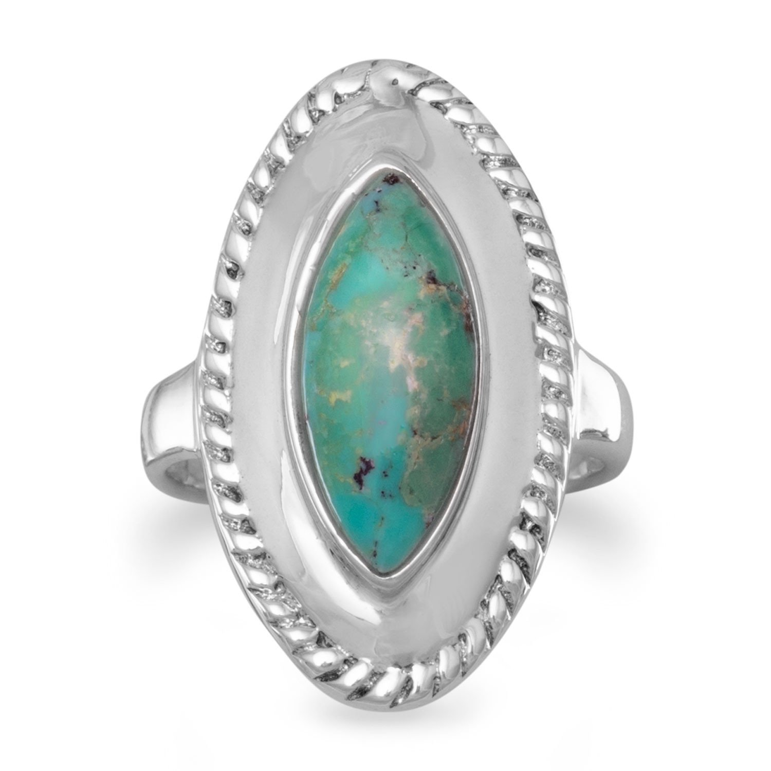 Oxidized Marquise Reconstituted Turquoise Ring