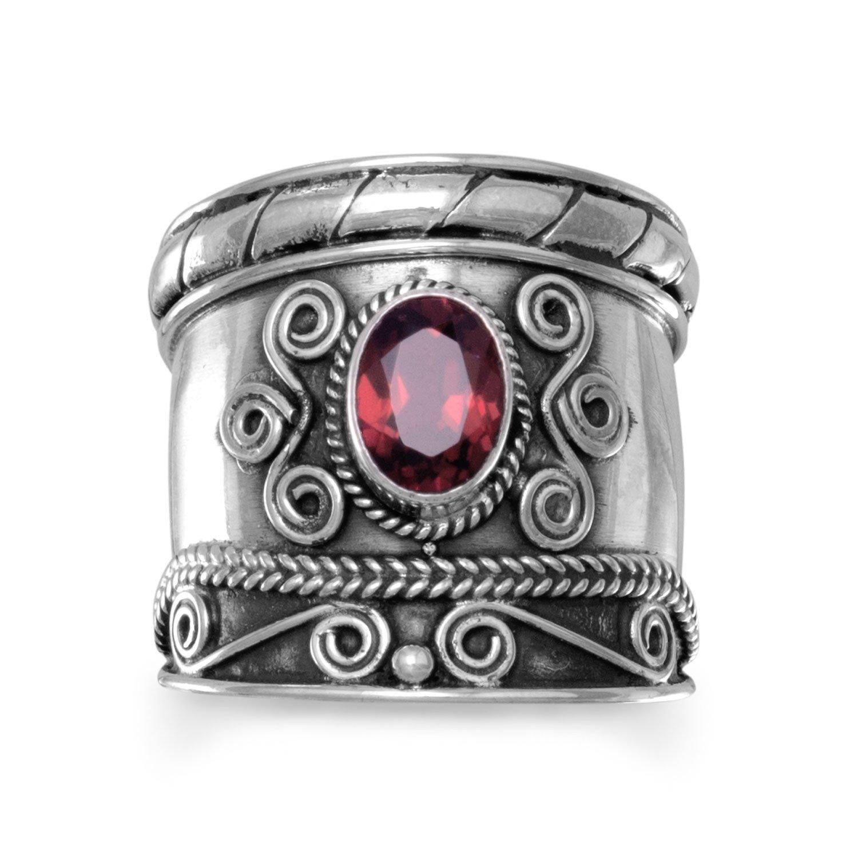 Handmade Oxidized Bali Style Garnet Ring