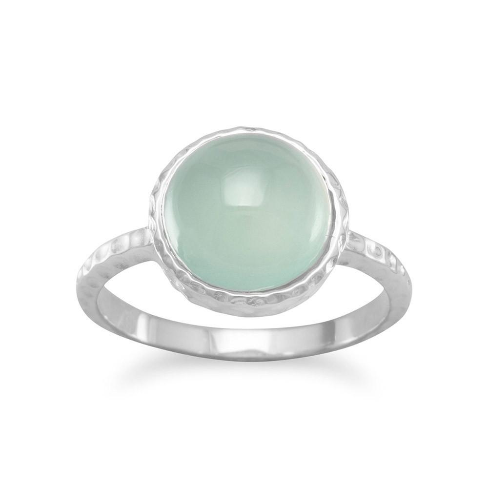 Cabochon Sea Green Chalcedony Ring