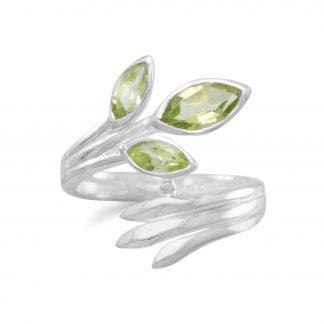 Fan Design Marquise Peridot Wrap Ring