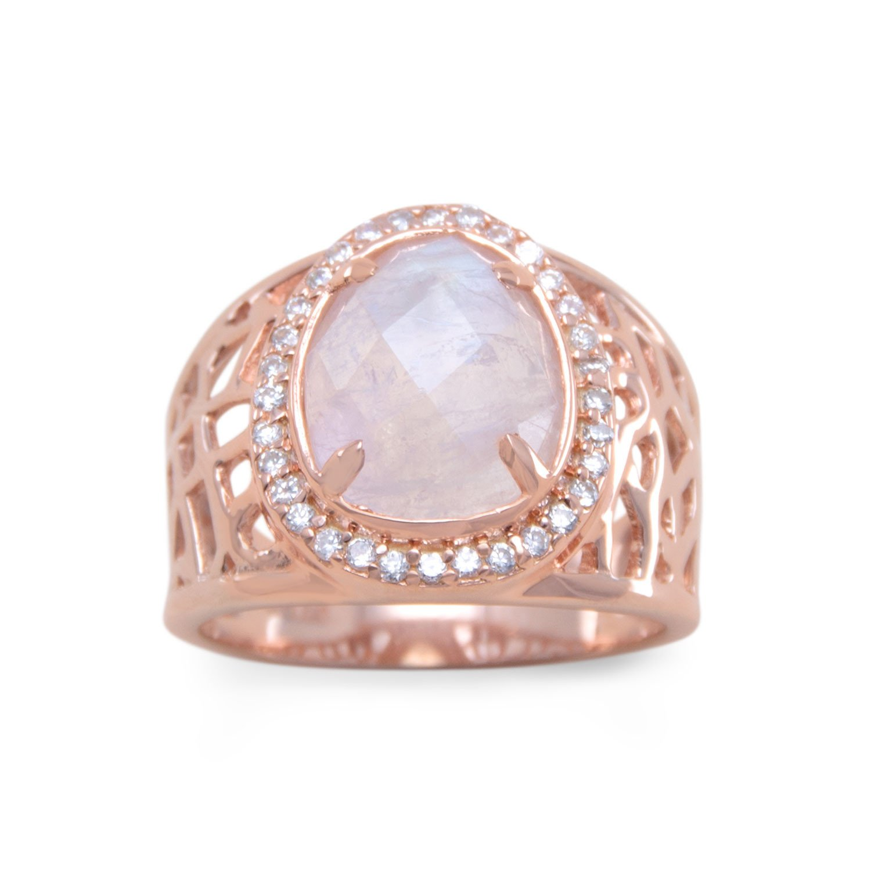 14 Karat Rose Gold Plated Large Rainbow Moonstone Ring