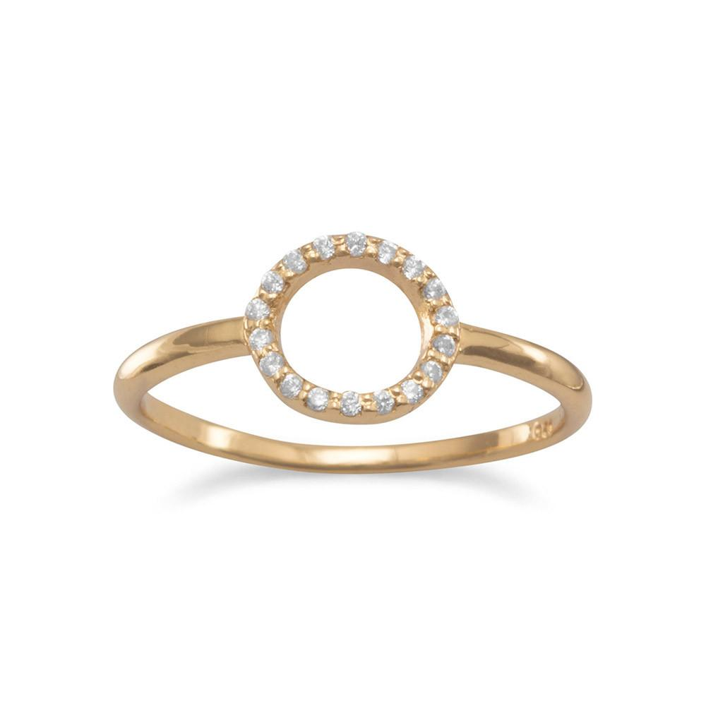 14 Karat Gold Plated Small CZ Circle Ring