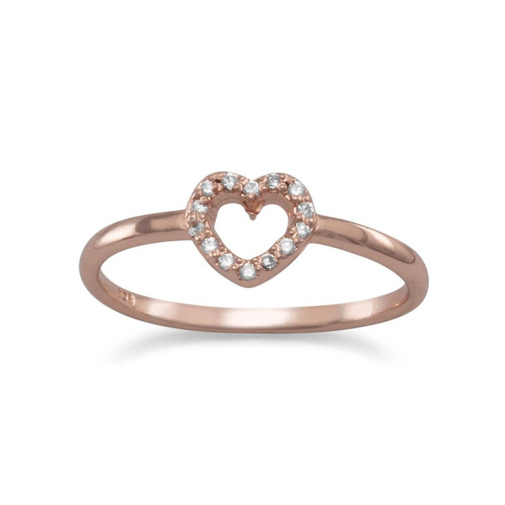 14 Karat Rose Gold Plated CZ Heart Ring