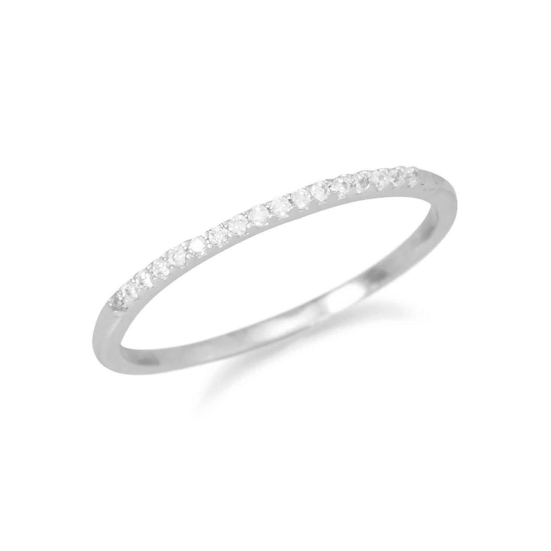 Rhodium Plated Thin CZ Ring
