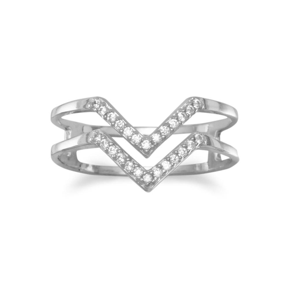 """Rhodium Plated Double Row CZ """"V"""" Ring"""