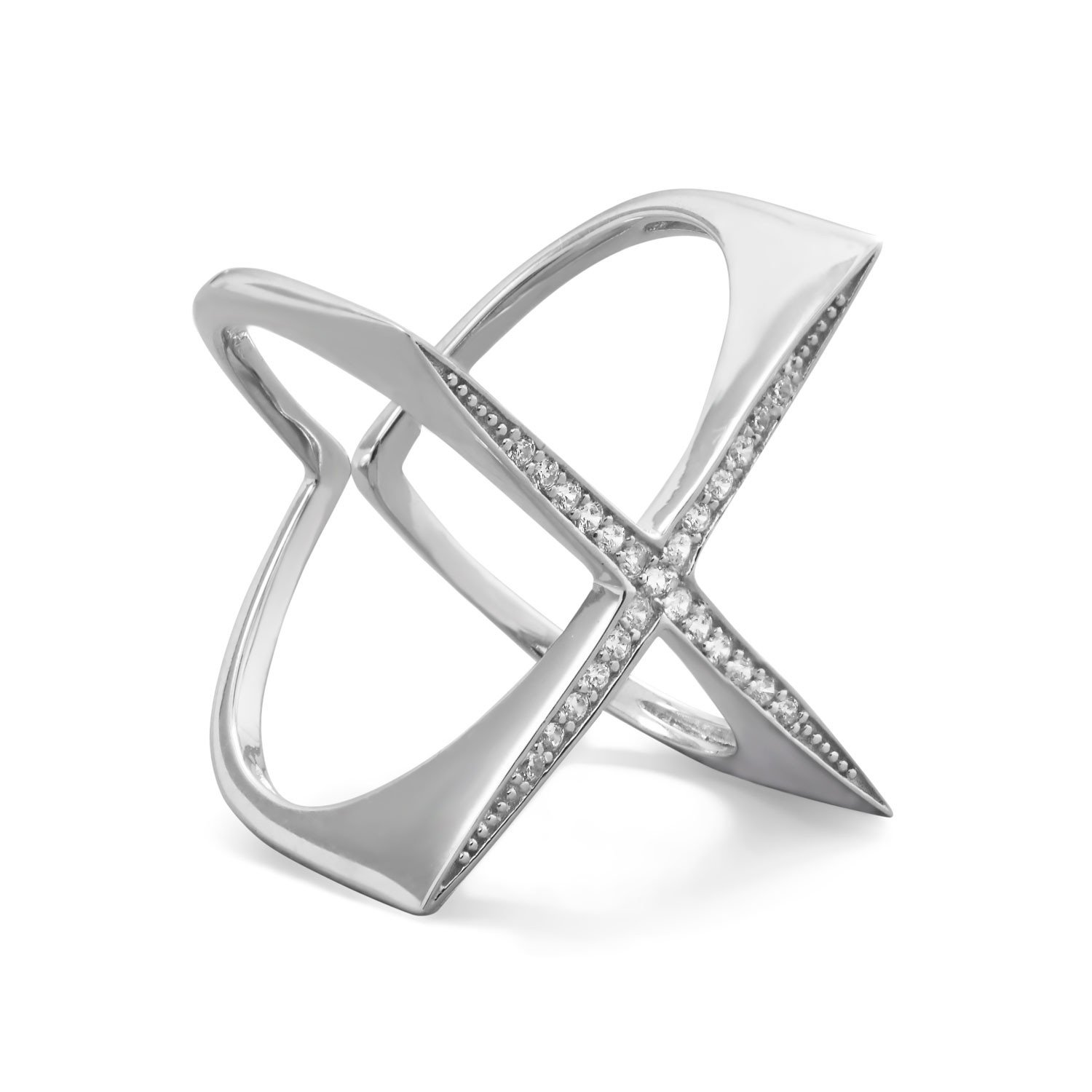 "Rhodium Plated Flat Top CZ ""X"" Ring"