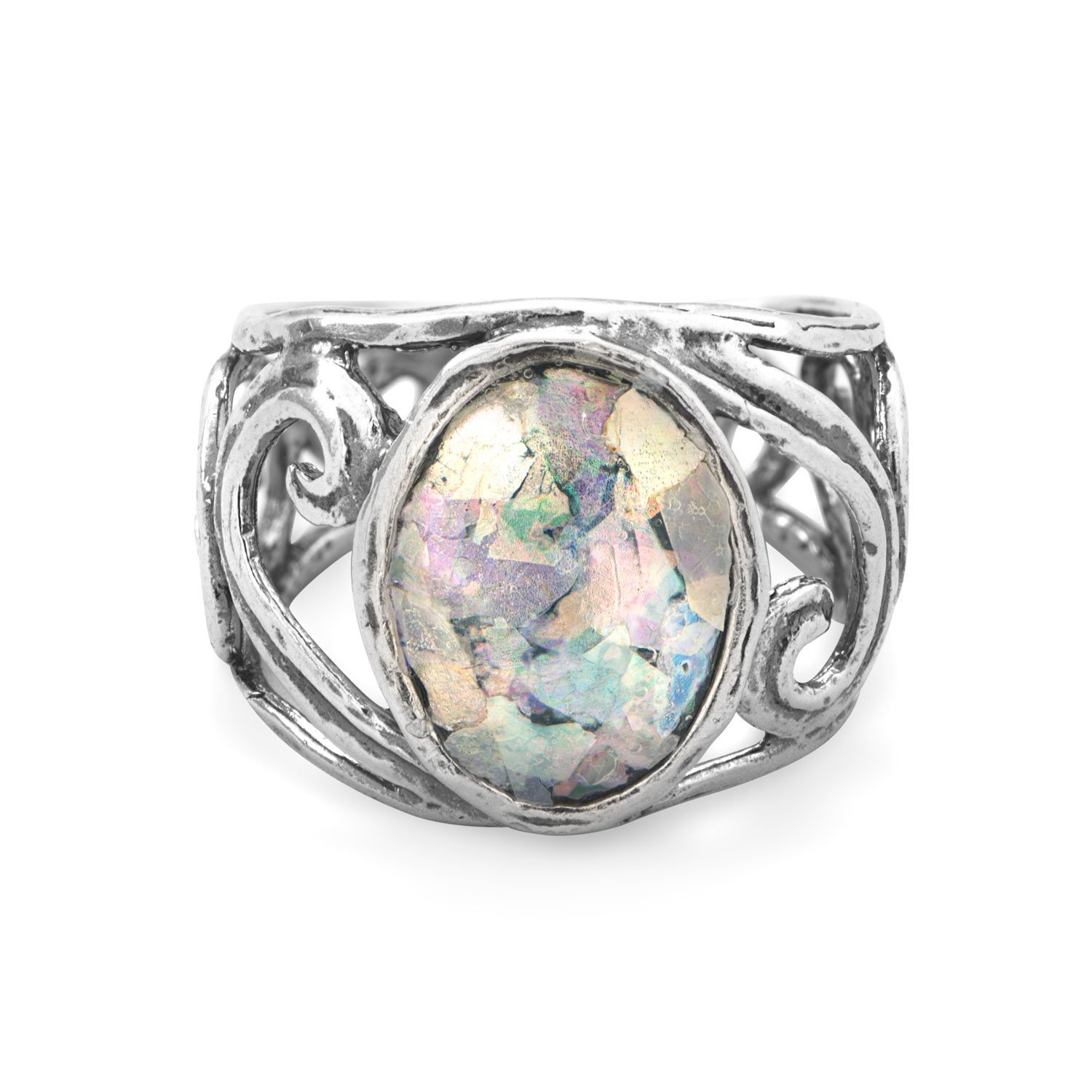 Cut Out Swirl Design Ring with Roman Glass