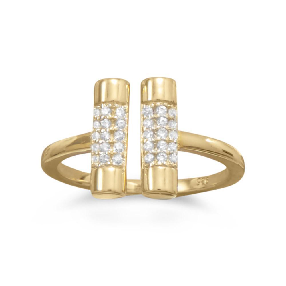 14 Karat Gold Plated CZ Bar Ring