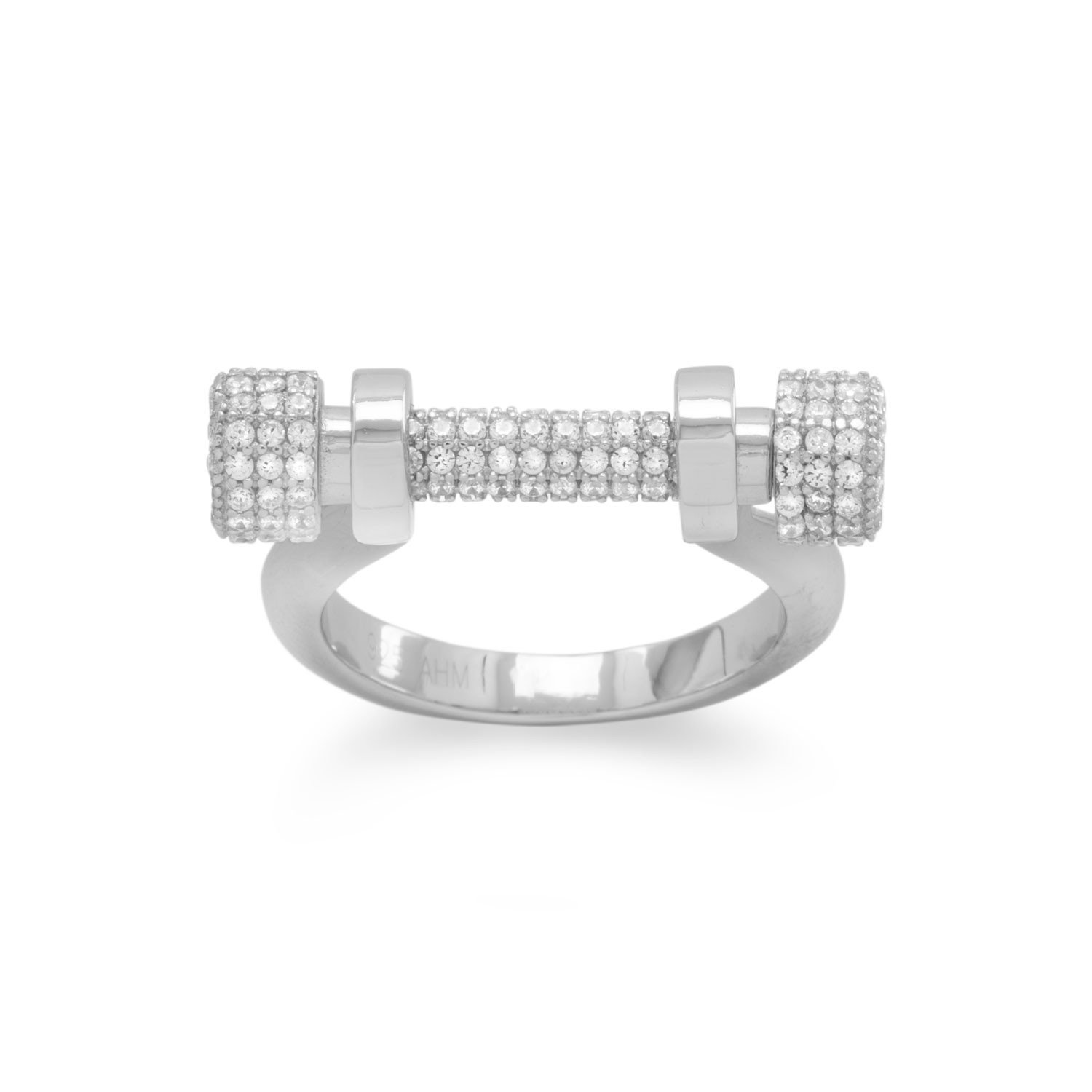 Rhodium Plated Signity CZ Barbell Ring