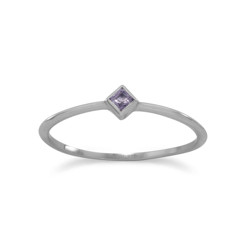 Rhodium Plated Iolite Ring