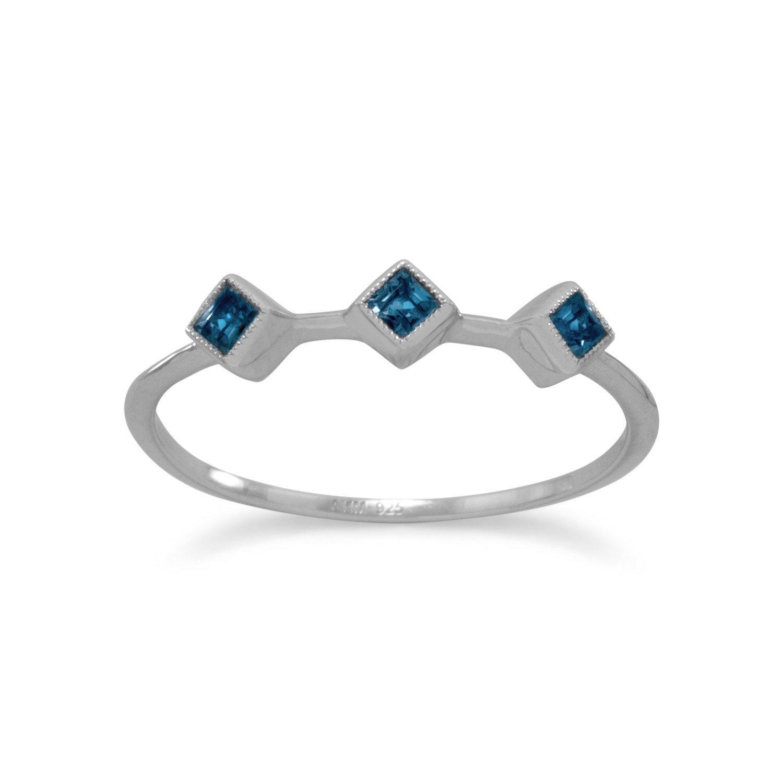 Rhodium Plated London Blue Topaz Ring