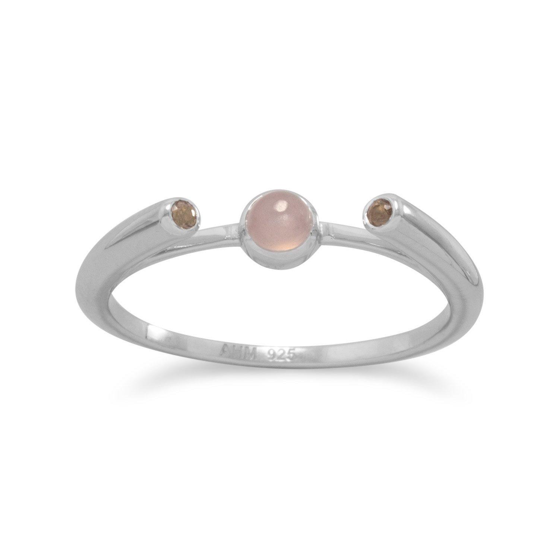 Rhodium Plated Peach Moonstone and Smoky Quartz Ring
